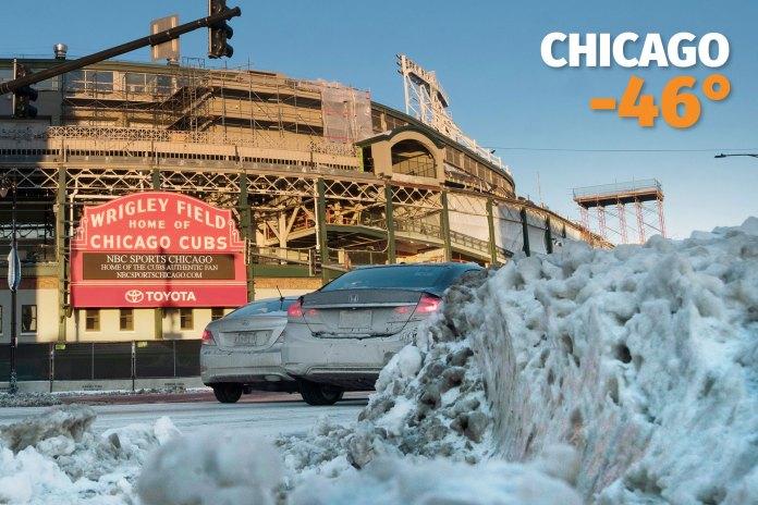 El Wrigley Field, estadio de los Chicago Cubs. En la tercera ciudad de Estados Unidos, la sensación térmica llegó a 46 grados bajo cero.