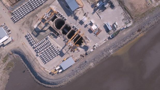 Vista aérea del predio donde se realizan las obras