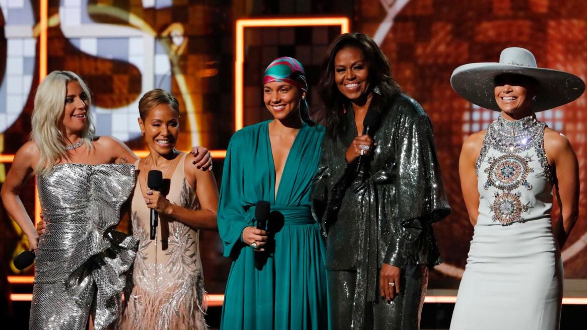 61st Grammy Awards – Show – Los Angeles, California, U.S., February 10, 2019 – Lady Gaga, Jennifer Lopez, Alicia Keys, former first lady Michelle Obama and Jada Pinkett Smith. REUTERS/Mike Blake