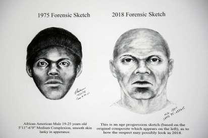 El dibujo forense de 1975 y el de 2018. Ambos describen la supuesta fisonomía de Doodler, el asesino serial de los años 70 en San Francisco