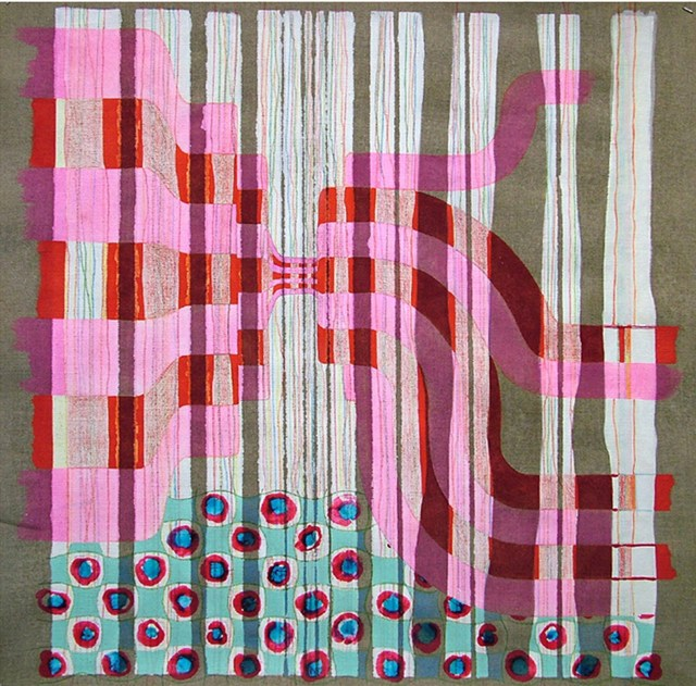 Mariano Ferrante. Lápiz, tinta, acrílico, oleo y témpera sobre lino 80 x 80 cm