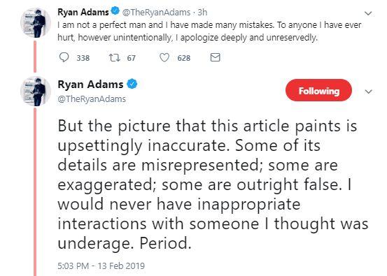 Adams hizo una declaración sobre el reportaje en su cuenta de Twitter (Foto: Twitter Ryan Adams)