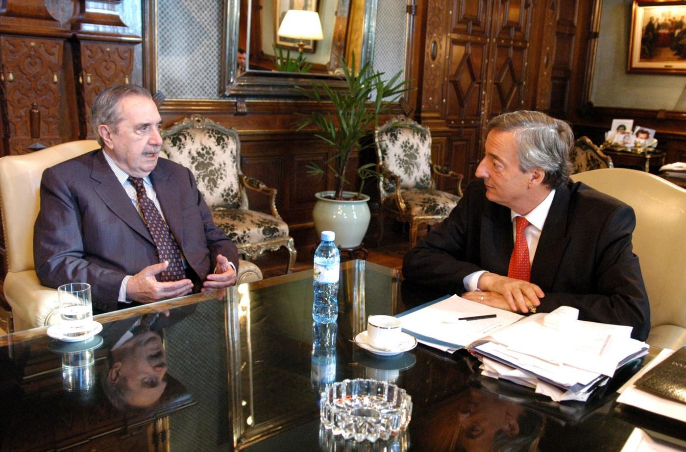 Durante una reunión conNéstor Kirchneren la Casa Rosada