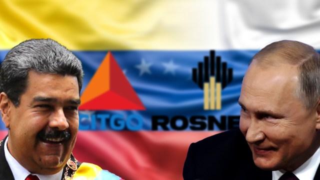 Nicolás Maduro y su par Vladimir Putin. Detrás de ellos, las empresas petroleras protagonistas de la historia