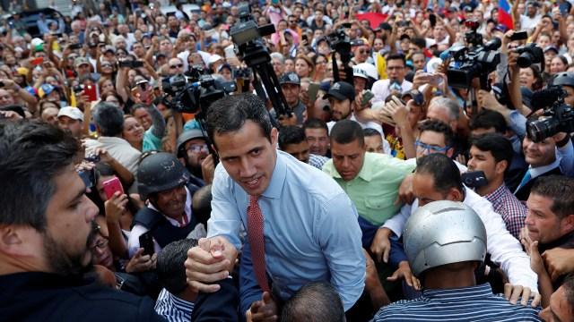 El presidente designadoJuan Guaido en una de las protestas contra la dictadura de Nicolás Maduroen Caracasel pasado martes (Foto:REUTERS/Carlos Garcia Rawlins)