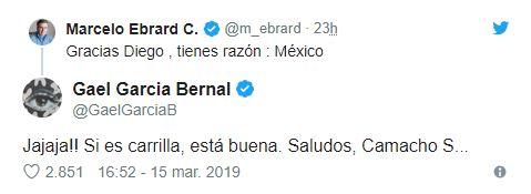 Marcelo Ebrard agradeció y le dio la razón al charolastra, pero no a Gael, sino a su gran amigo Diego Luna (Foto: tomada de Twitter)