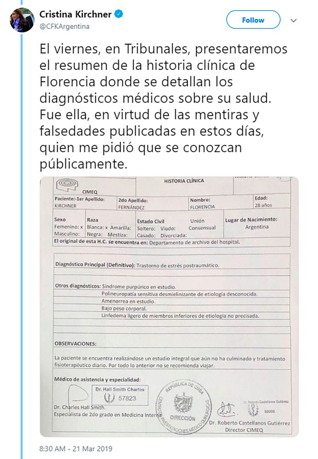 El tuit de Cristina Kirchner con la historia clínica de su hija