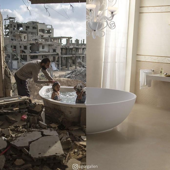 Un padre baña a sus hijos en un rincón de Gaza bombardeado junto a una lujosa sala de baño