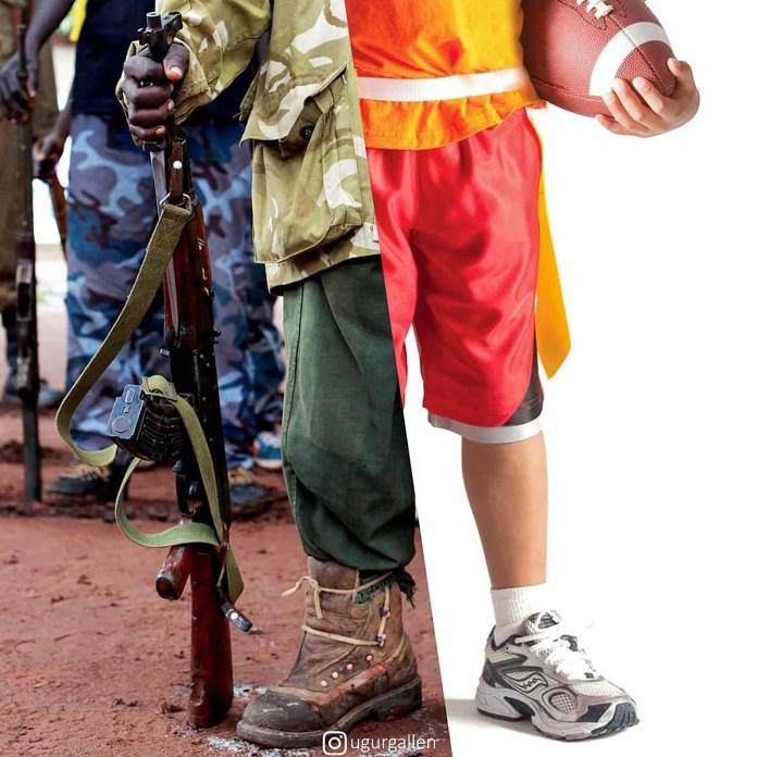 Un niños en Sudán del Sur y otro niños con una pelota de fútbol americano