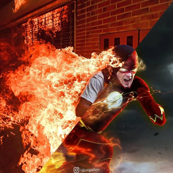 Una víctima de la represión policial en las protestas en Venezuela y un hombre con disfraz de superhéroe