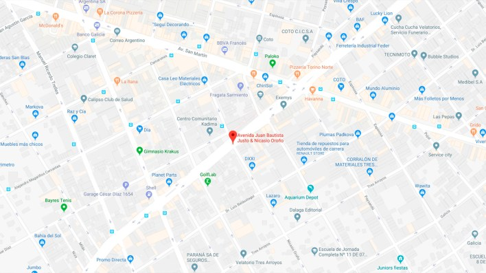 El accidente ocurrió en la intersección de las calles Juan B. Justo y Nicasio Oroño