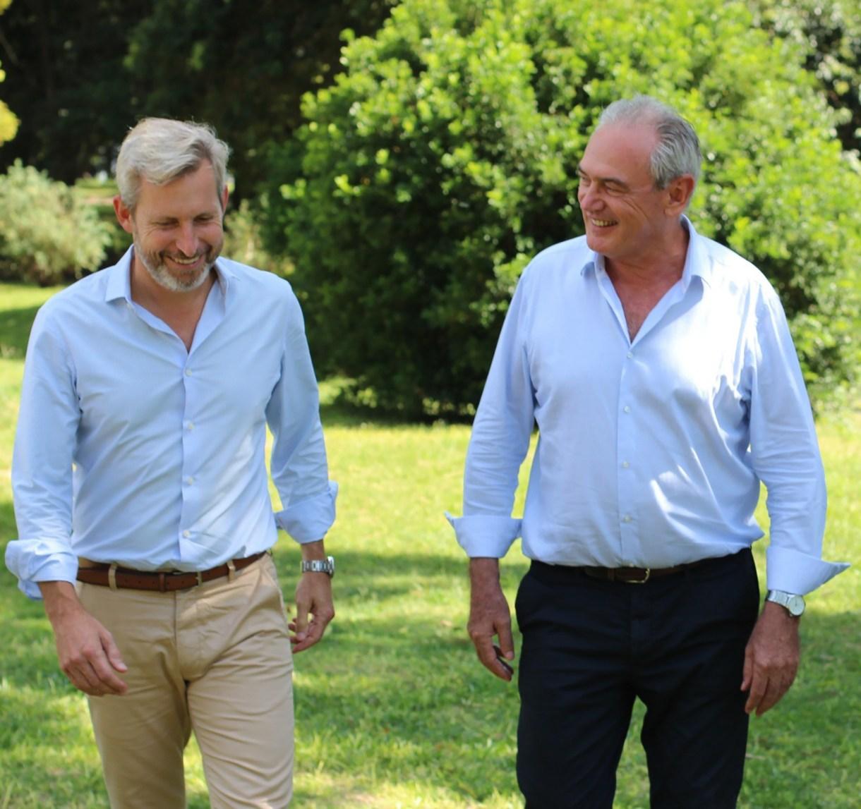 El ministro Frigerio junto al candidato de Cambiemos Atilio Benedetti, días atrás en la Quinta de Olivos