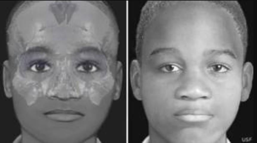 La recontrucción facial de un cráneo de un joven de alrededor de 12 años encontrado en el área Foto: (Universidad del Sur de la Florida)