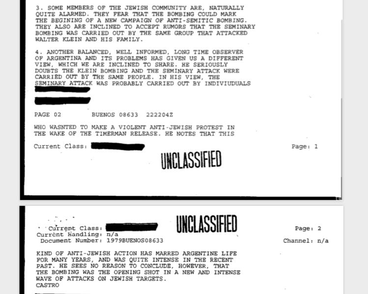 Los documentosmuestran que el Departamento de Estado no creyó, como la dirigencia de la comunidad judía, que la bomba contra Klein tuviera el mismo origen que las antisemitas.