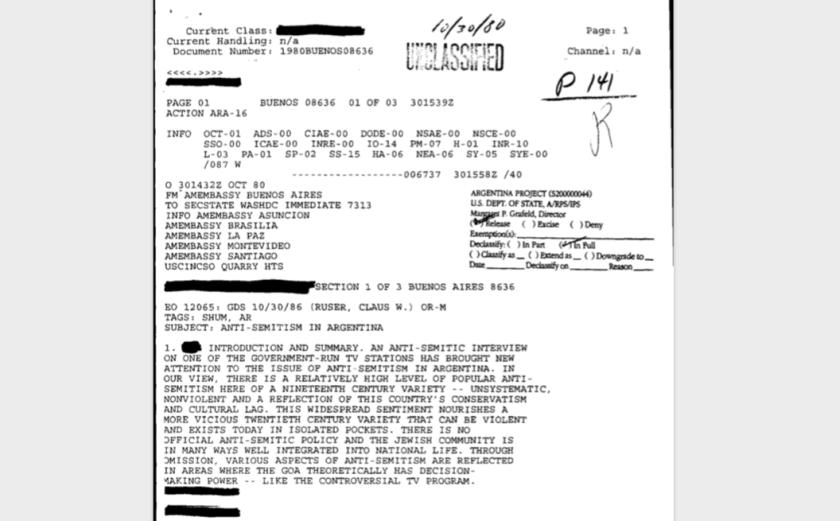 Un extenso telegrama de seis páginas se dedicó a explicar a Washington DC la entrevista antisemita que hizo un reconocido periodista argentino de televisión.