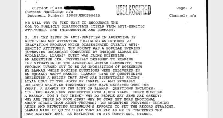 El cable, además de describir el interrogatorio de Enrique Llamas de Madariaga, da contexto sobre la historia del antisemitismo en la Argentina.