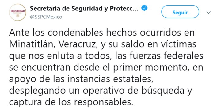 El gobierno mandó condolencias a los familiares (Foto: Twitter/SSPCMexico)