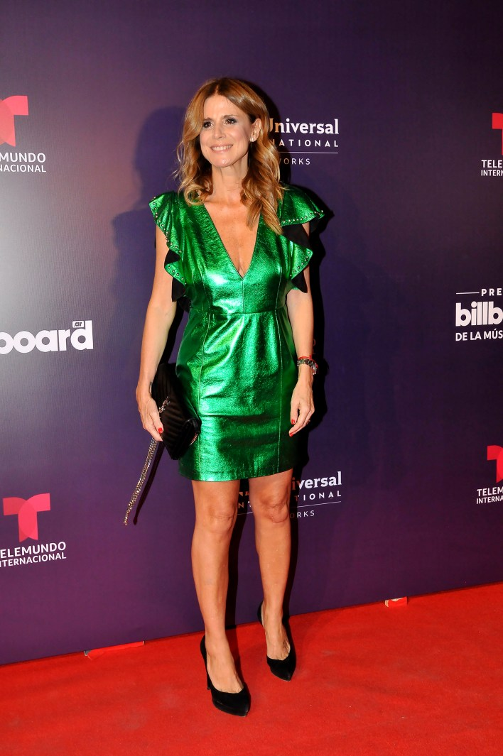Flavia Palmiero disfrutó de la fiesta que sirvió de antesala a la transmisión en vivo de lo que será la ceremonia de premiación de este próximo jueves 25 de abril, a las 21, desde Las Vegas a través de Telemundo Internacional