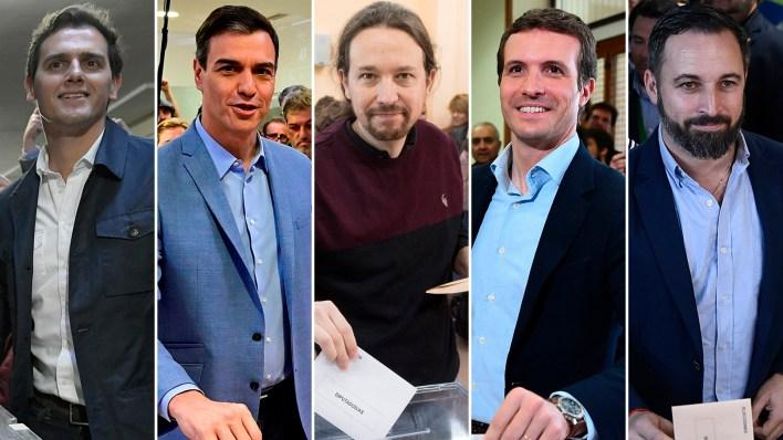 Albert Rivera, Pedro Sánchez (PSOE), Pablo Iglesias (Podemos), Pablo Casado (PP) y Santiago Abascal (VOX), referentes de los principales partidos en pugna (AFP)