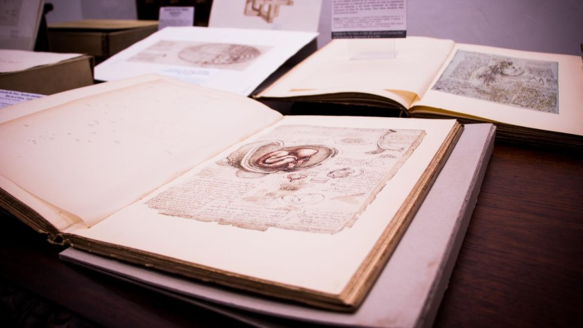 Los obras representan algunas de las tantas inquietudes del gran artista e inventor italiano