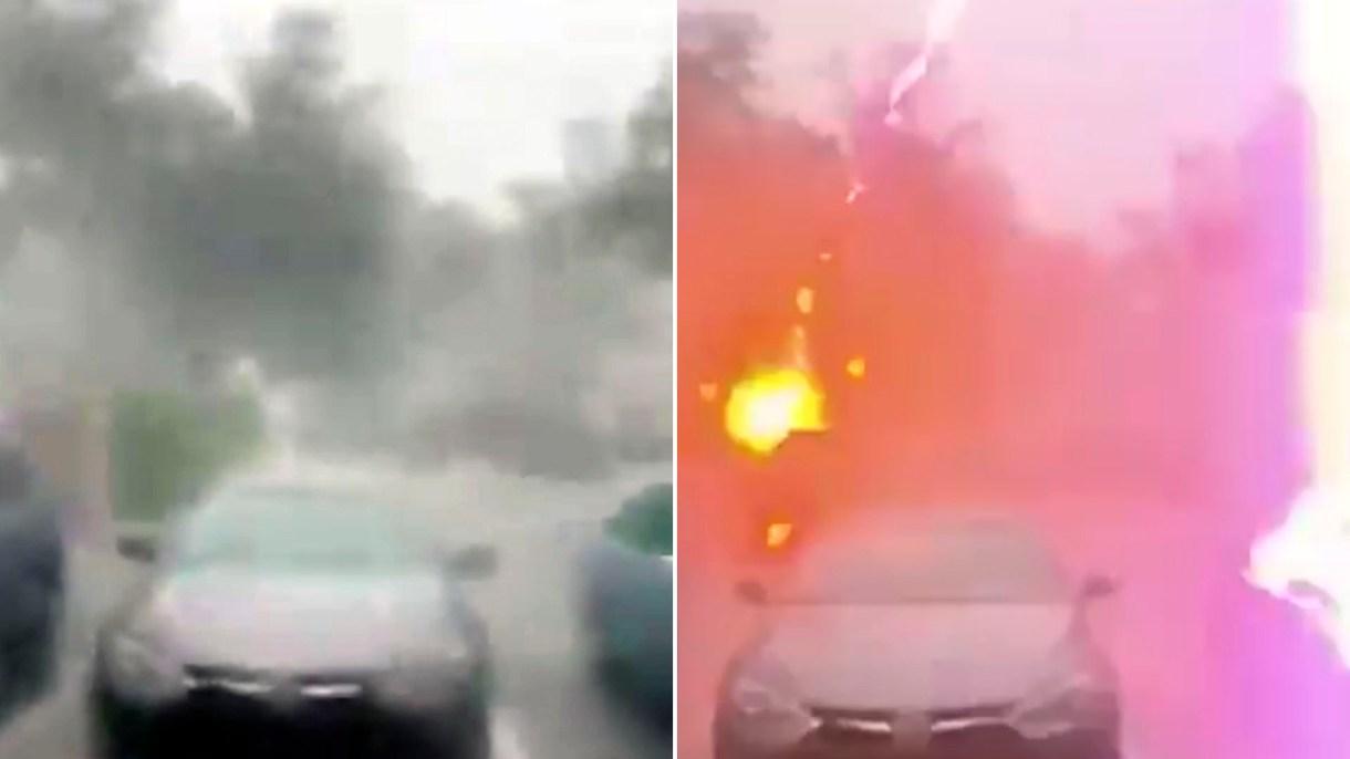El video se volvió viral por el impacto de observar un rayo tan de cerca(Foto: captura de pantalla video Erica Hite)