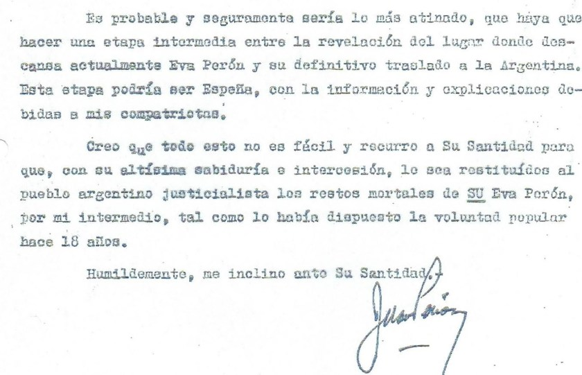 La carta de Juan Domingo Perón al Papa Paulo VI