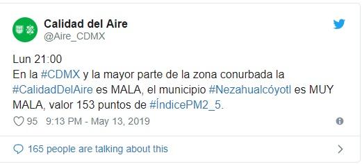 El último reporte del lunes indicó que la calidad del aire era entre mala y muy mala en la CDMX (Foto: Twitter @Aire_CDMX)
