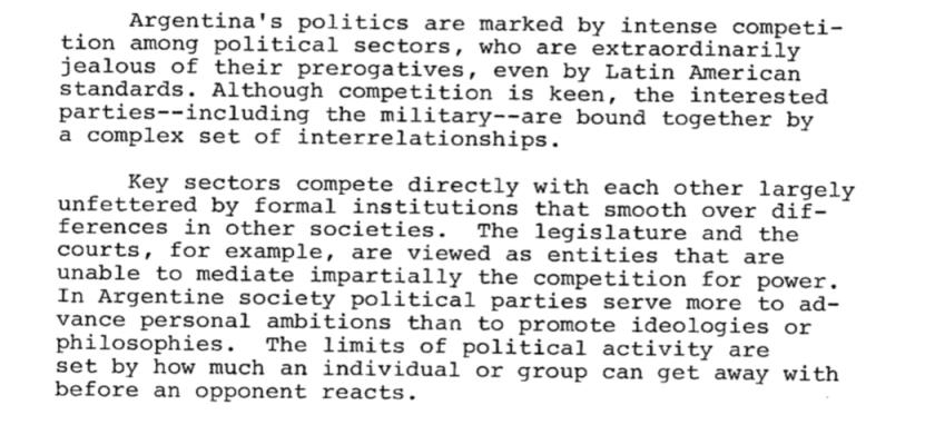 Los niveles de internas políticas en Argentina eran altos incluso para los estándares latinoamericanos, se asombró la CIA.