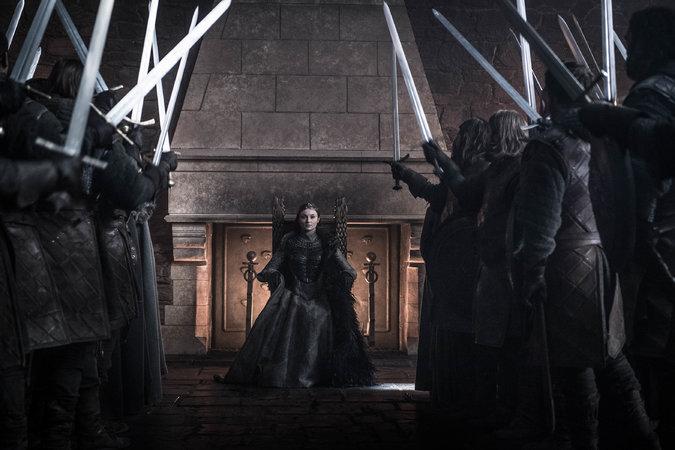 """Sophie Turner como Sansa Stark en el episodio final de """"Juego de tronos"""" (Helen Sloan/HBO)"""