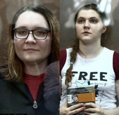 Las jóvenes María Dubovik (izquierda) y Anna Pavlikova (derecha), fueron puestas en libertad tras un fallo de la jueza rusa. Formaban parte de un grupo extremista contra el Kremlin (Foto: TASS)