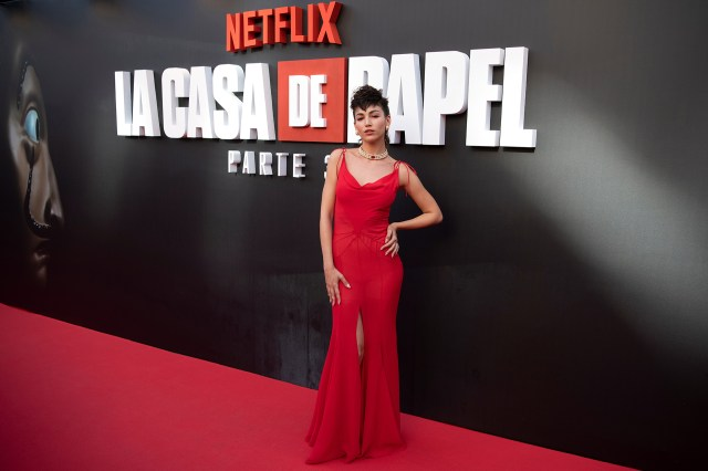 Úrsula Corberó -interpreta a Tokio en la Casa de Papel- en la presentación de la tercera temporada tuvo lugar en Madrid