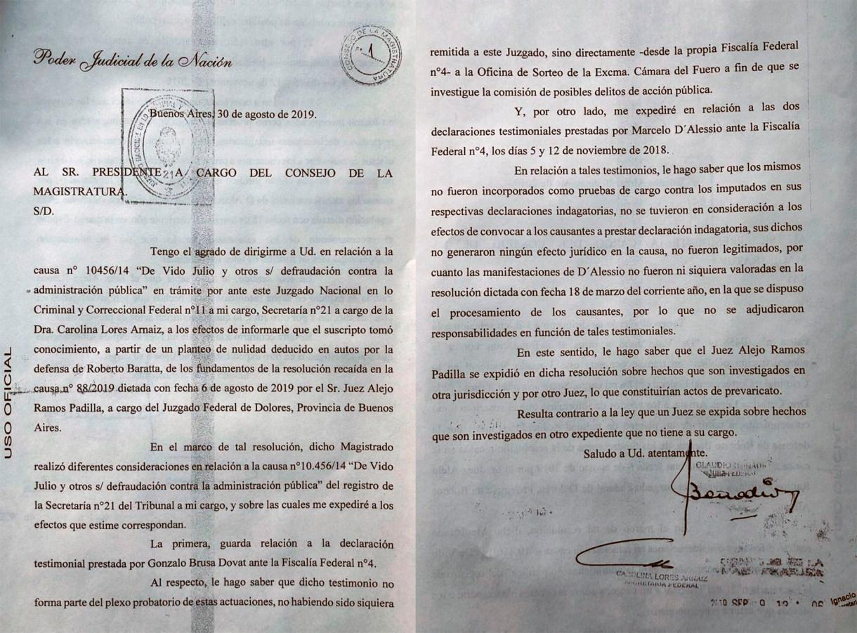 Denuncia de Bonadio contra Ramos Padilla
