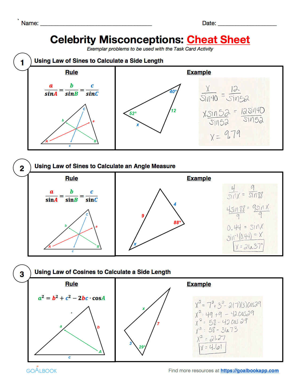 Hsg Srt 10 Laws Of Sines And Cosines