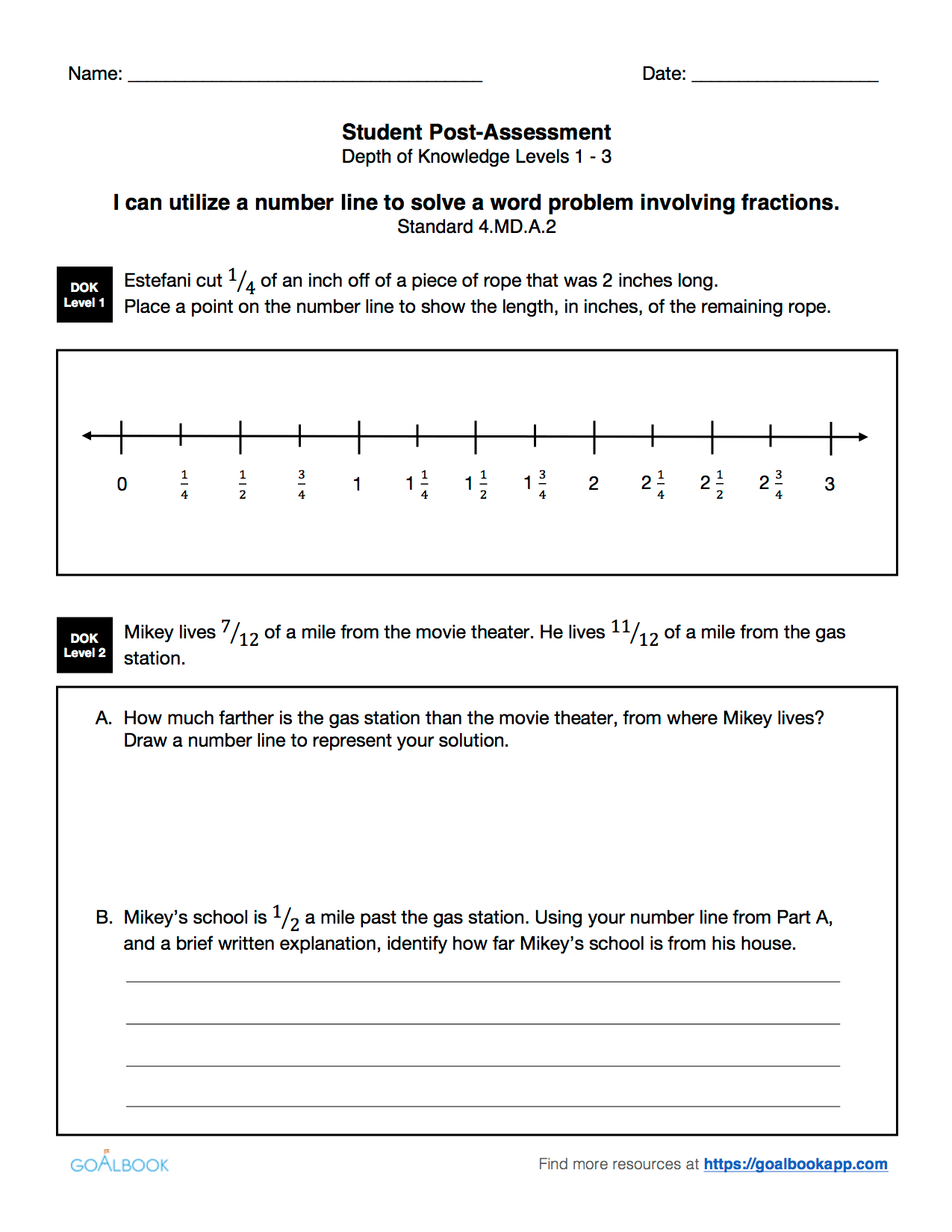 Quick Assessment Fraction Word Problems Using Number Lines