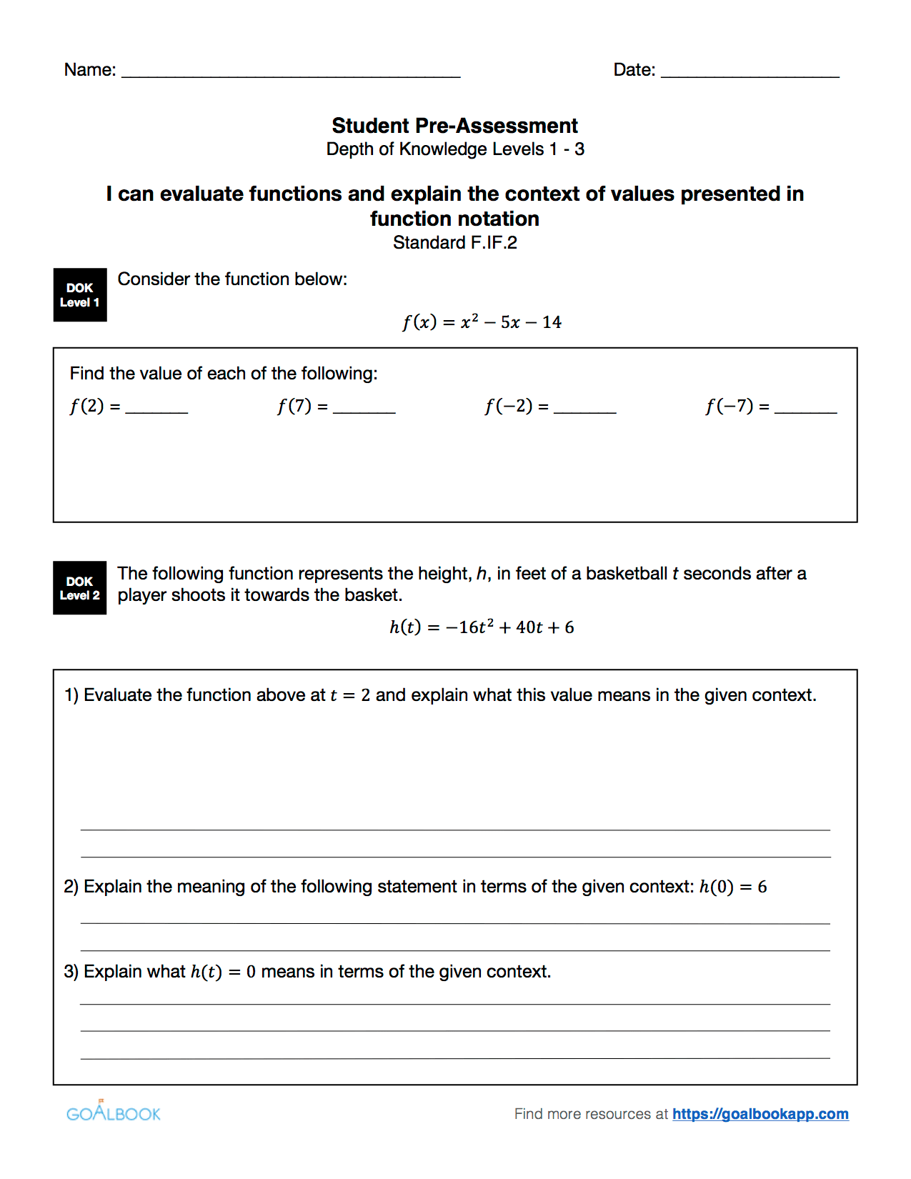 Hsf If 2 Evaluate Function Notation