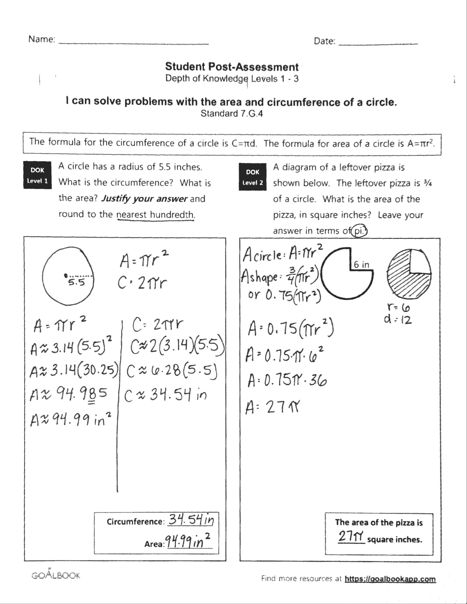 7 G 4 Area And Circumference Of Circles