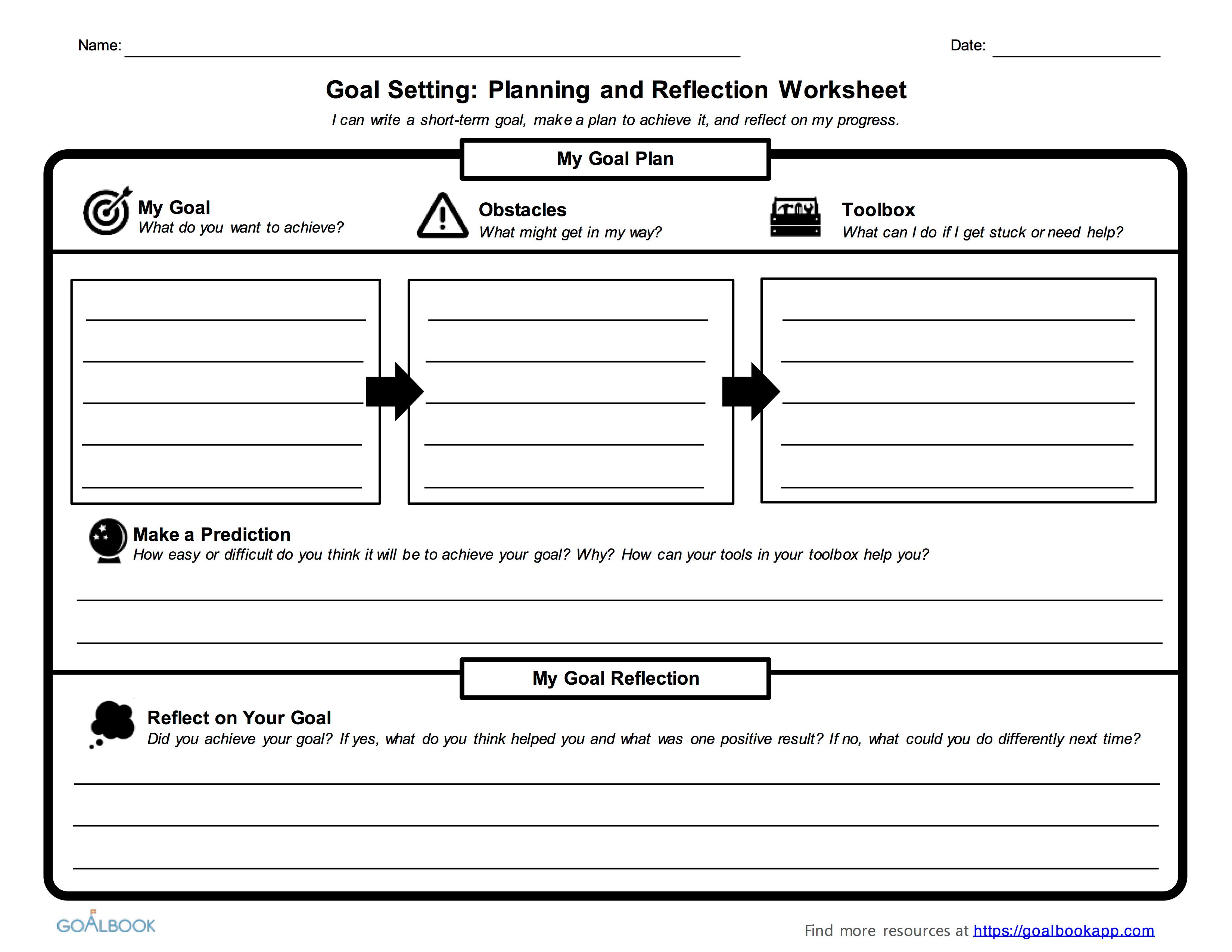 Worksheets Academic Goal Setting Worksheet Cheatslist