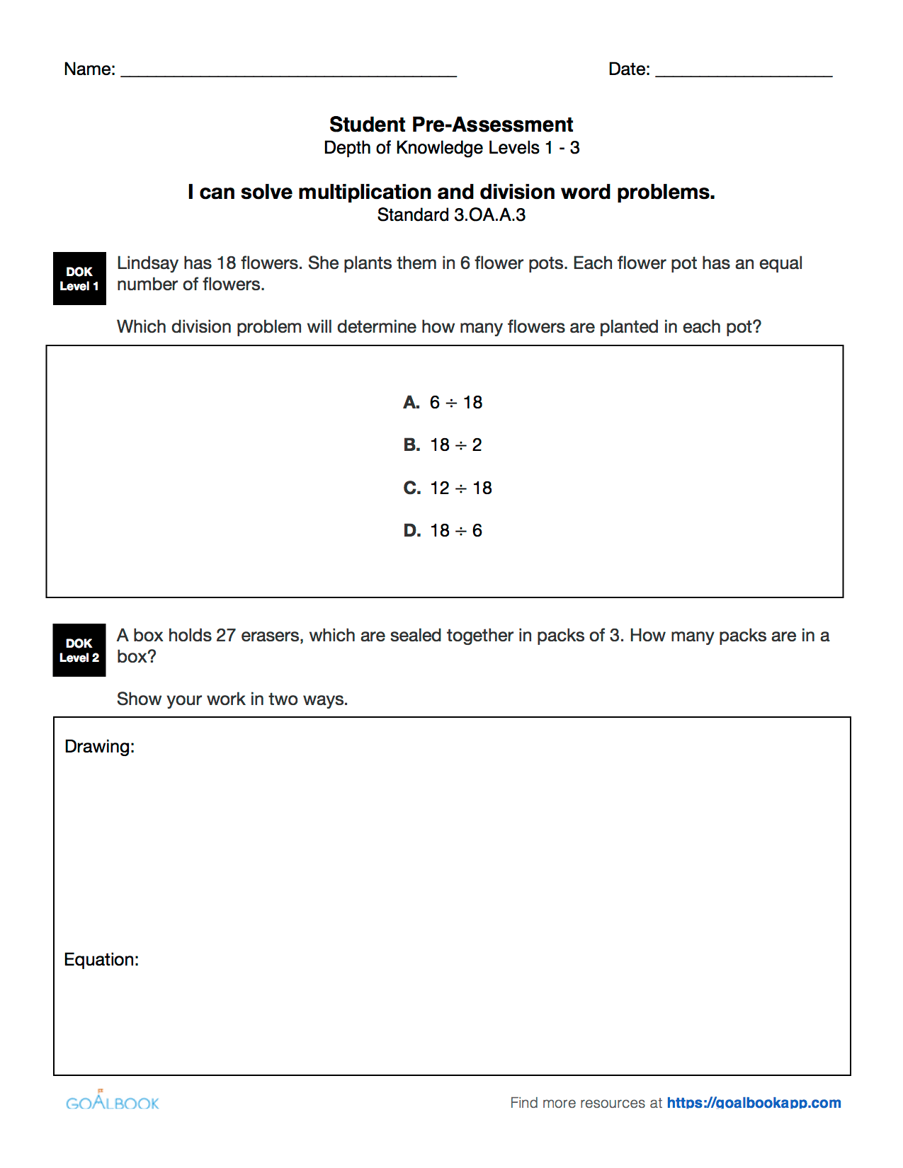 3 Oa 3 Multiplication And Division Word Problems