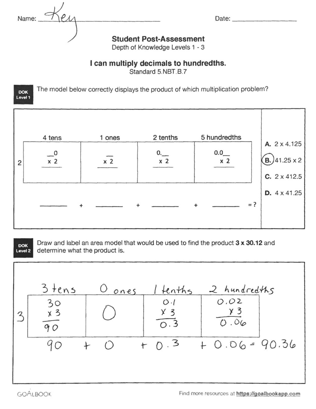 Quick Assessment Multiply Decimals