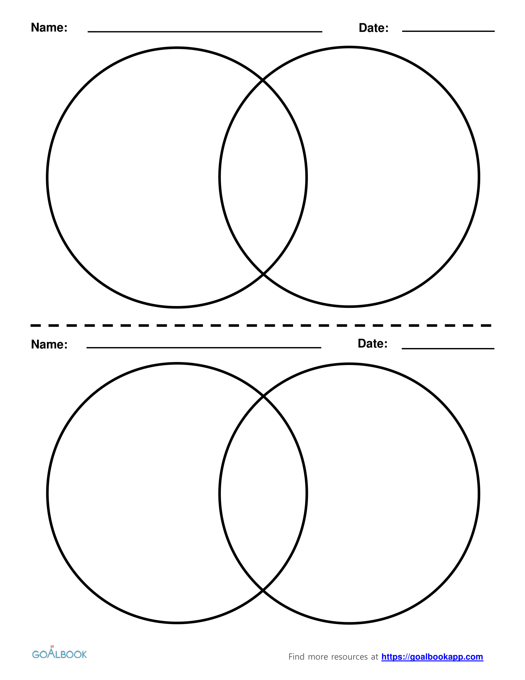 2 Circle Venn Diagrams