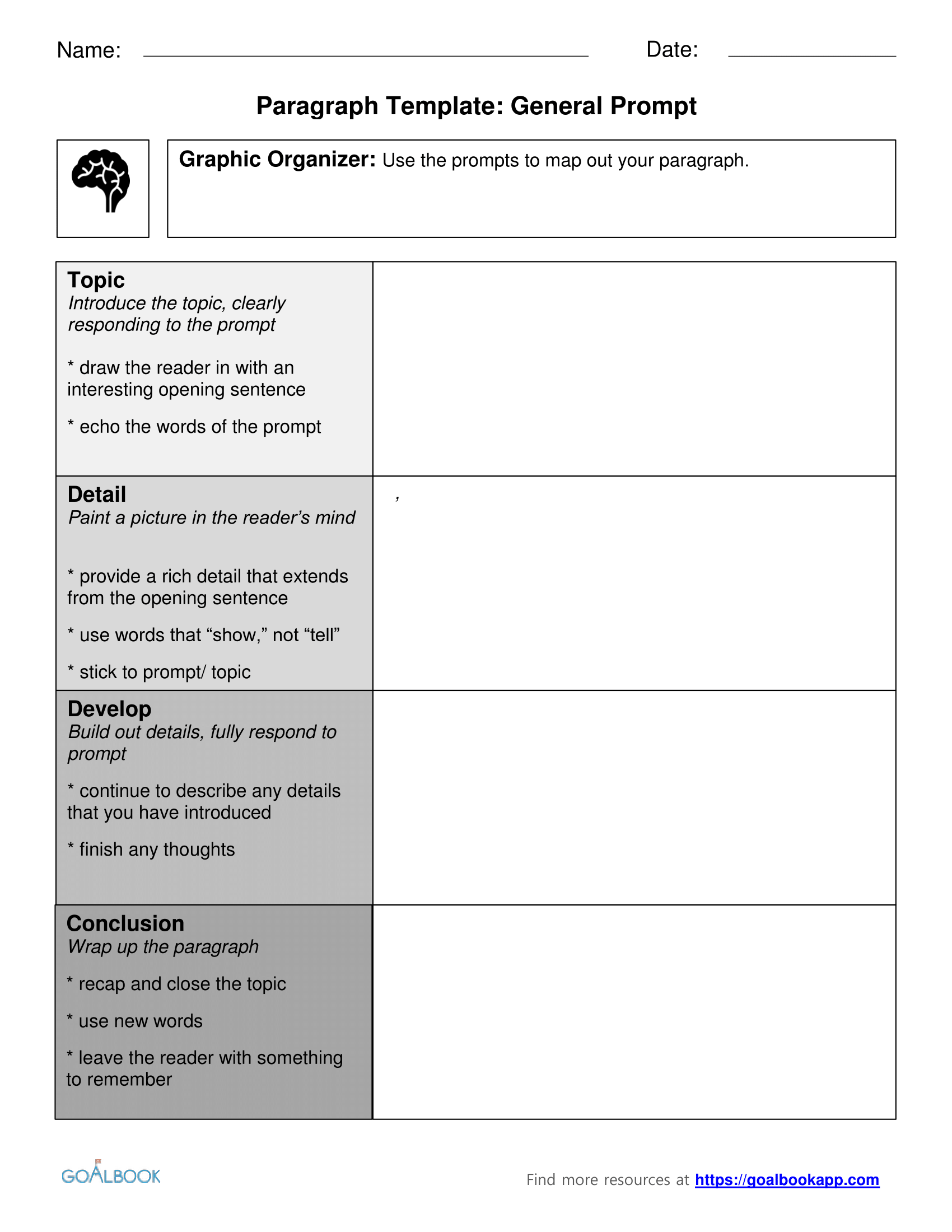 Paragraph Template Udl Strategies Goalbook Toolkit