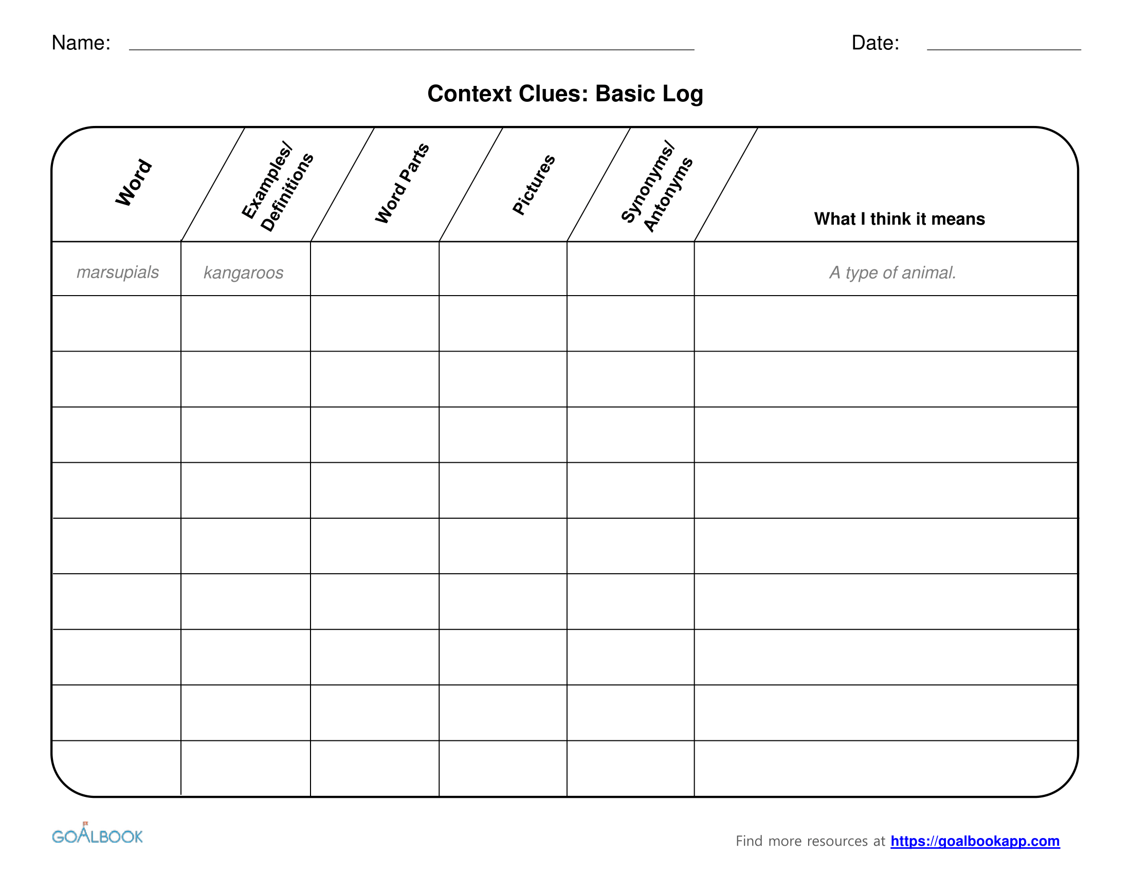 Worksheet With Context Clues