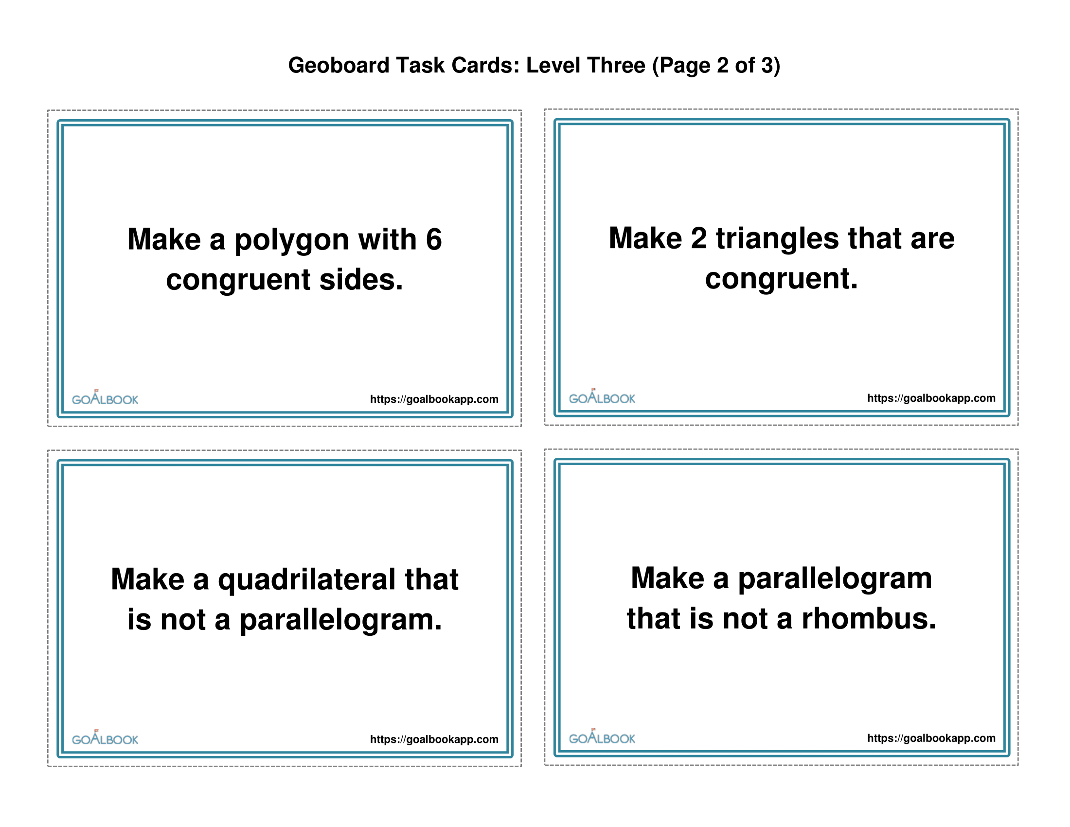 Geoboard Task Cards Level 2 Quadrilaterals And Angles