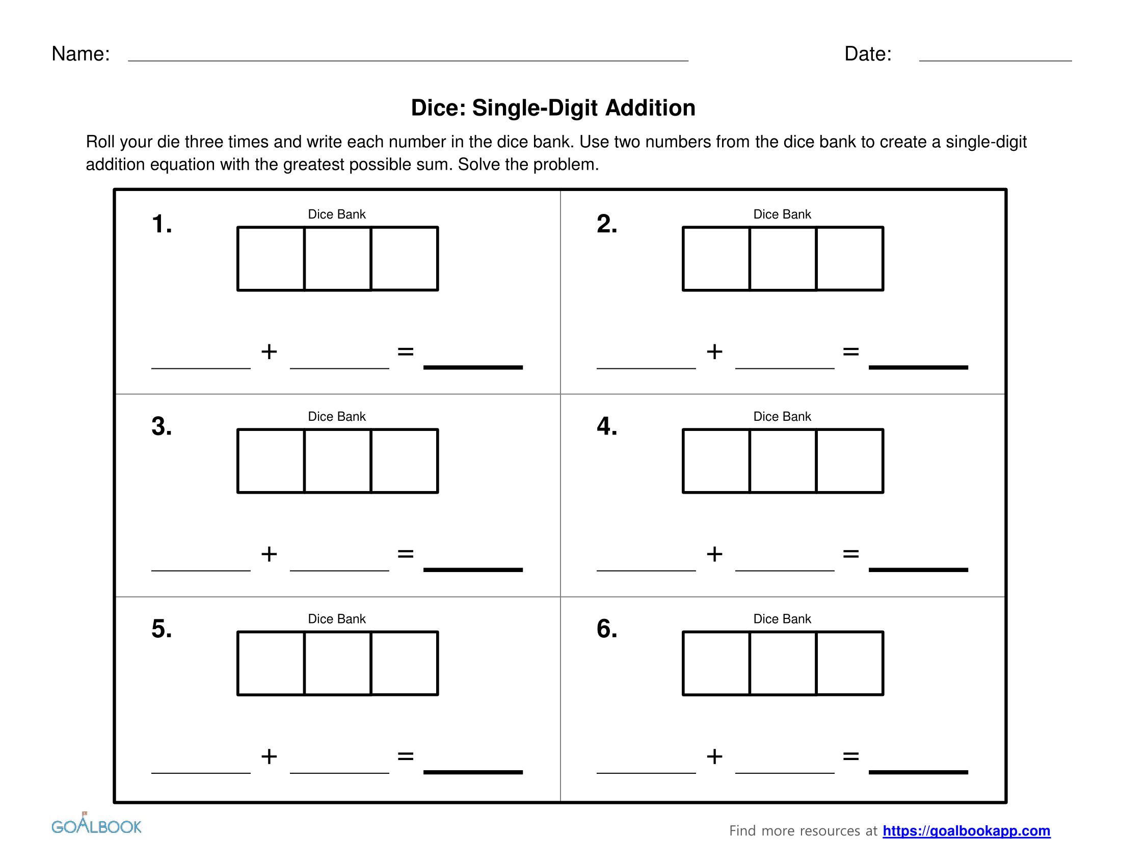 Dice Math Subtraction Addition Worksheet Dice Best Free
