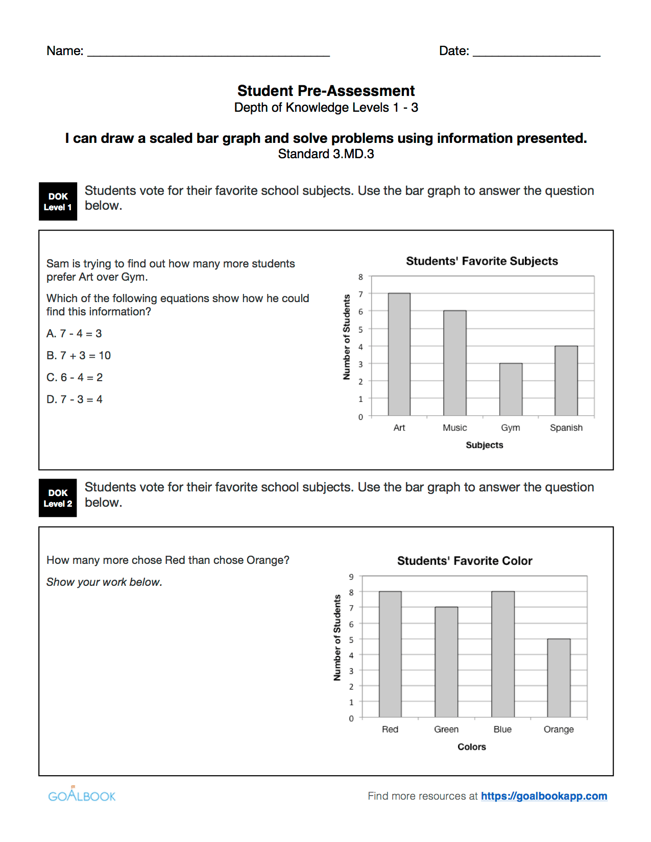 3 Md 3 Draw Bar Graphs And Solve Problems