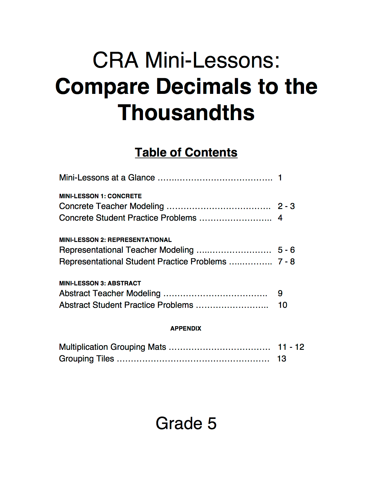 5 Nbt 3 Decimals To The Thousandths