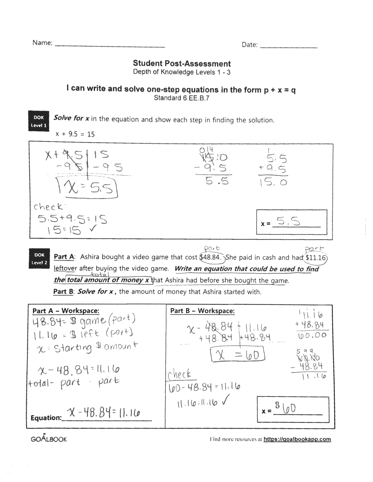 6 6 Word Problems Using Expressions