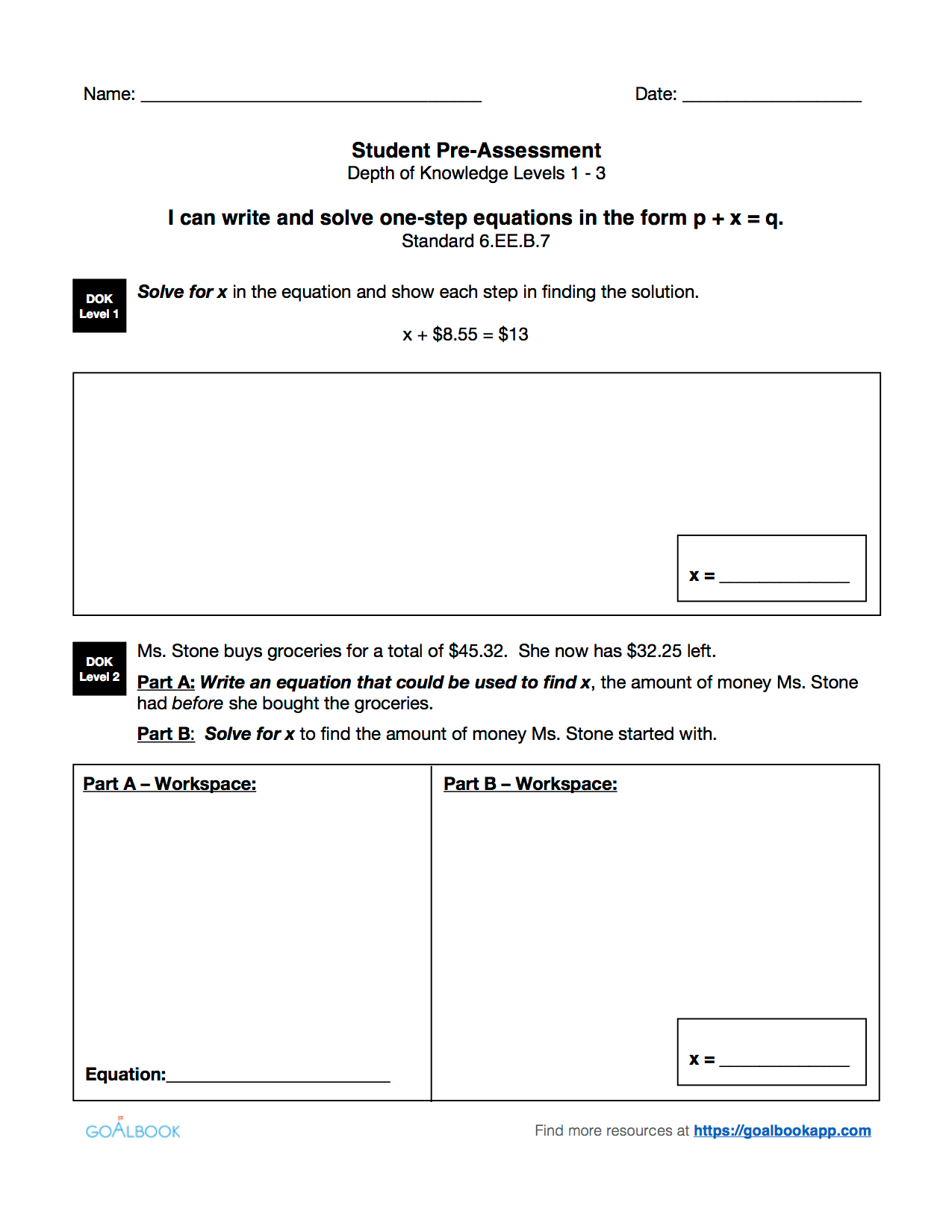 6 Ee 7 Word Problems Using Equations