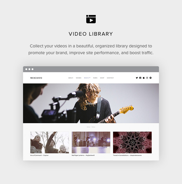 Merchato video library for musicians