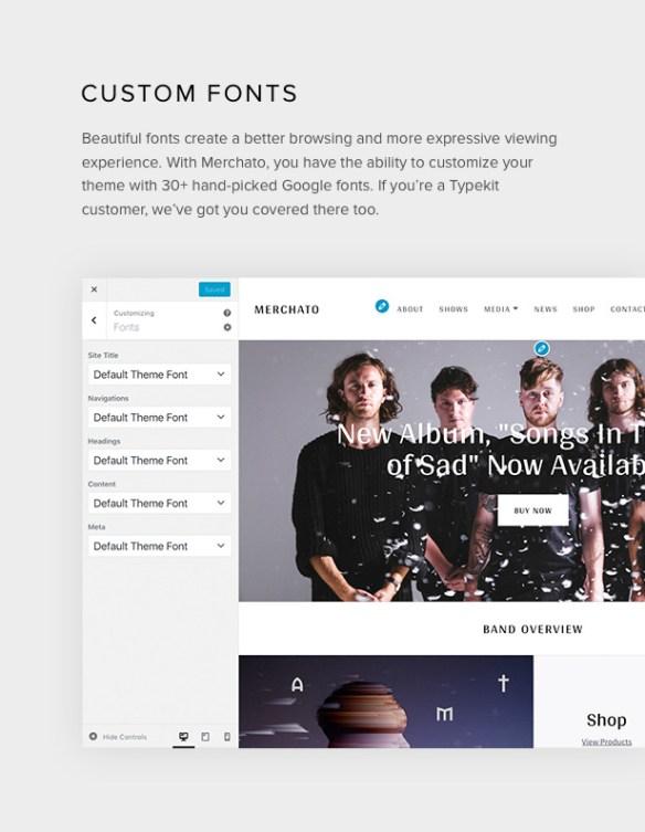 Merchato font customization options